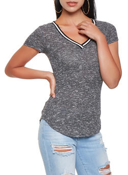 Striped Knit Trim Sweater - 3033015990057
