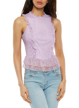 Sleeveless Ruffled Lace Top - 3033015990100