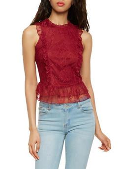Sleeveless Ruffled Lace Top - 3033015990100