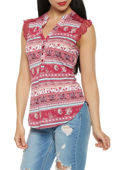 Lace Trim Floral Tank Top - 3033015990209