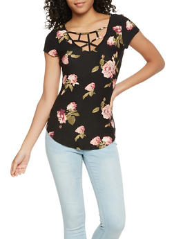 Floral Caged Neck Tee - 3033015990228