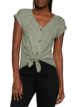 Marled Tie Button Front Top - 3033015990672