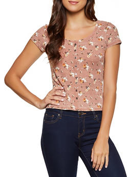 Floral Waffle Knit Tee - 3033015990728