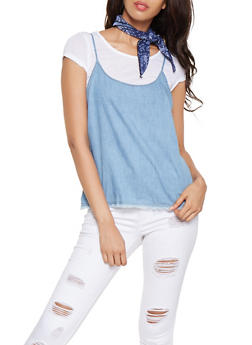 Denim Cami Tee with Bandana - 3033015993240