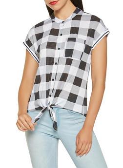 Plaid Tie Front Shirt - BLACK/WHITE - 3033015994348