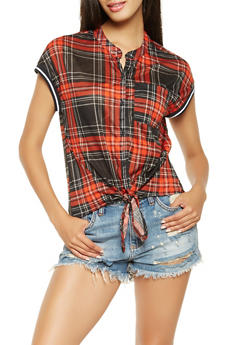 Plaid Tie Front Shirt - 3033015994348