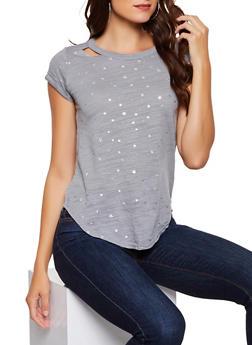 Foil Star Print Tee - 3033015994836