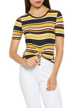 Striped Tie Front Tee - 3033015995019