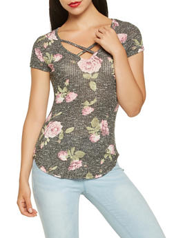Caged Neck Printed Top - 3033015995221