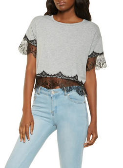 Lace Trim Tee - 3033015996500