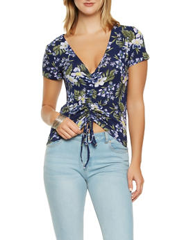 Floral Ruched Crop Top - 3033015996807
