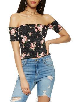 Floral Off the Shoulder Smocked Crop Top - 3033015996895