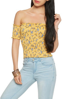 Floral Off the Shoulder Smocked Crop Top - 3033015996895