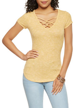 Caged Ribbed Knit Top - 3033015997302