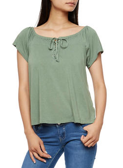 Short Sleeve Smocked Lace Up Top - 3033015998050