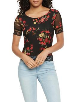Floral Mesh Lace Trim Top - 3033015998421