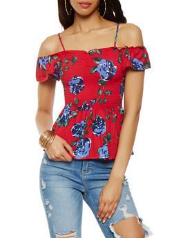 Floral Off the Shoulder Smocked Top - 3033015998432