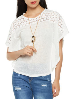 Knit Dolman Sleeve Top with Necklace - 3033038342644