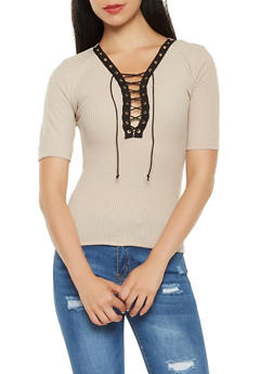 Ribbed Knit Lace Up Top - 3033038342656