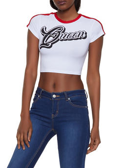 Queen Graphic Cropped Tee - 3033038349274