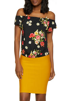 Printed Chain Strap Off the Shoulder Top - 3033038349305