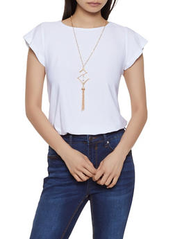 Flutter Sleeve Top with Necklace - 3033038349370