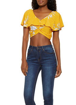 Printed Ruffled Crop Top - 3033038349376