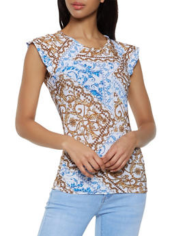 Printed Cap Sleeve Top | 3033038349379 - 3033038349379