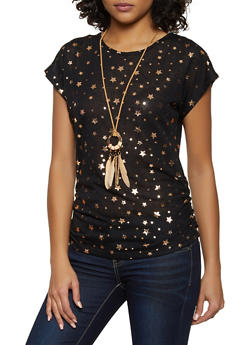 Foil Star Print Tee with Necklace - 3033038349382