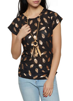 Foil Leaf Print Tee with Necklace - 3033038349387