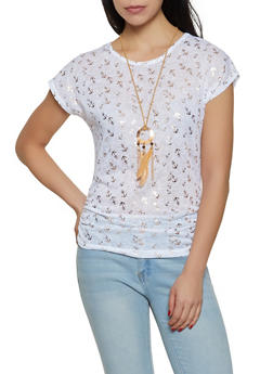 Foiled Anchor Print Top with Necklace - 3033038349421