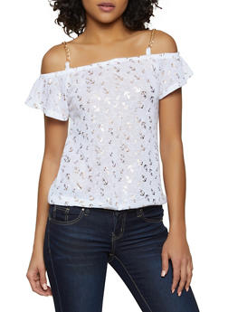 69154b334beff Foil Print Chain Strap Off the Shoulder Top - 3033038349423