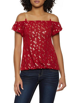 Foil Print Chain Strap Off the Shoulder Top - 3033038349423