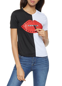 Lips Graphic Zipper Detail Tee - 3033058750365