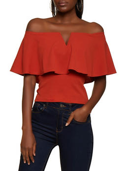 Off the Shoulder Crepe Knit Top - 3033058750532