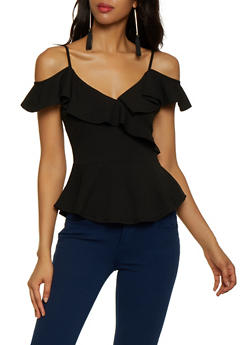 Ruffle Trim Cold Shoulder Top - 3033058750621