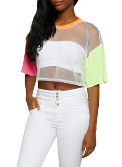 Color Block Mesh Tee - 3033058750775