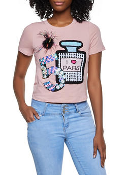 Perfume Sequin Patch Tee - 3033058750834