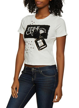 Faux Pearl Studded Perfume Patch Tee - 3033058750835