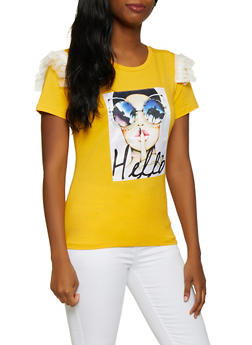 Hello Studded Patch Graphic Tee - 3033058750982