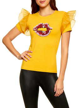 Beaded Lip Graphic Top - 3033058750983