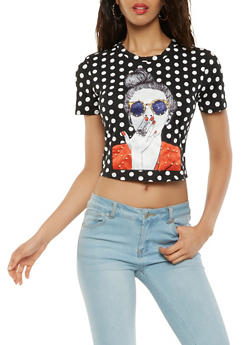 Polka Dot Face Graphic Cropped Tee - 3033058751098