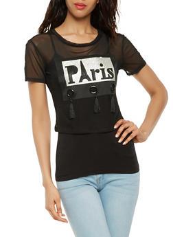 Paris Graphic Mesh Crop Top - 3033058751099