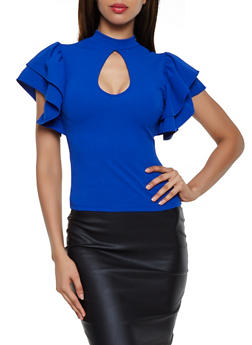 Tiered Sleeve Keyhole Top - 3033058751135