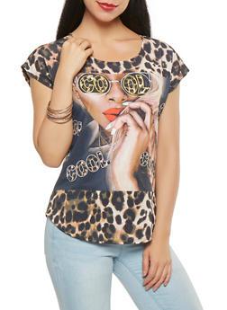 Leopard Graphic Print Tee - 3033058751167