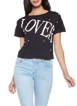 Faux Pearl Studded Lover Graphic Tee - 3033058751321