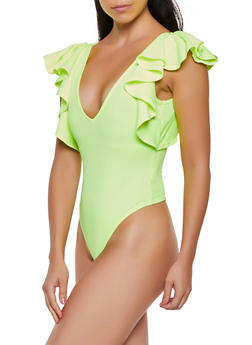 Caged Back Ruffle Sleeve Bodysuit - NEON YELLOW - 3033058751501