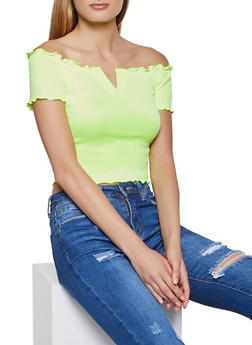 Off the Shoulder Lettuce Edge V Detail Crop Top - NEON YELLOW - 3033058751798