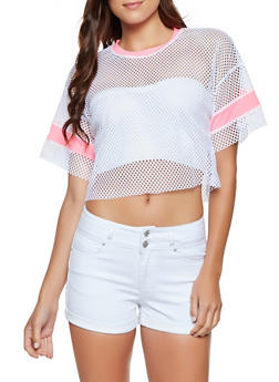 Fishnet Contrast Trim Tee - 3033058751801