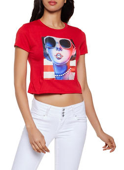 Studded Americana Patch Graphic Tee - 3033058751836